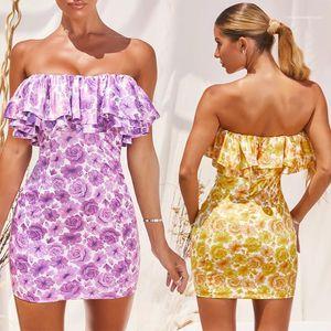 Floral Bodycon Dress 20ss Women Summer Dress Sexy Off Shoulder Women Dresses Fashion Strapless Slash Neck