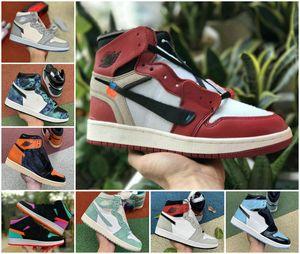 Nouveau haut 1 OG GS X Hommes Basketball Chaussures pas cher Obsidian ASG UNC Crimson Tint sans peur Turbo vert Retroes Chicago Femmes Sneakers Blanc
