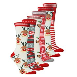 HOT Christmas socks Santa Claus elk female and men personality mid tube socks autumn winter warm lovely socks 6style 300pcs T500251