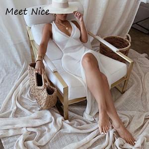 Лето See Through пляж платье Женщины Coverups Backless Cover Up Трикотажное макси платья White Crochet Side Split Сексуальное платье
