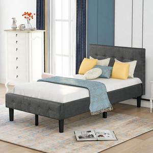 США STOCK 3-6 дней поставки Мягкая кровать платформы с деревянной поддержки ламелей и хохлатой изголовье и изножье (Твин) WF193138EAA