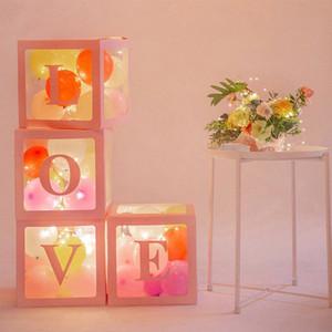 """4pcs / lot Plastik Şeffaf Küp Balon Box ile """"Bebek / Love"""" Çıkartma Organizatör İçin Bebek Düğün Doğum çocuk Kız Hediyeler gp6v #"""