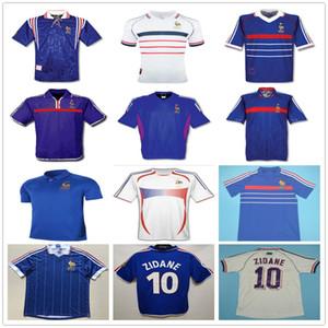 1998 2002 Retro France Soccer Jersey Zidane Henry Trezeguet Pires Deschamps Maillot de pied Vintage 96 98 00 02 04 06 Chemise de football personnalisée