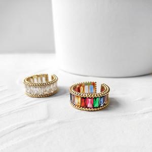 le donne gli anelli anello zircone colorato europea e americana della moda anelli anello freddo di stile anelli di alta qualità Donne APERTURA regolare