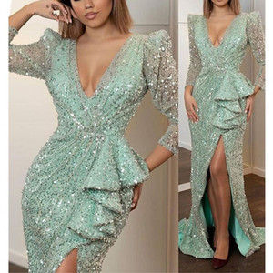 New Sparkly Arabic Mermaid Evening Dress 2020 Long Sleeve High Split Mint Sequined Prom Dresses in Turkey Plus Size Formal Gowns