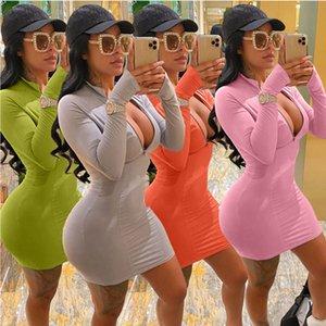 Abito Donne Stampato Zipper Solid colore multiplo colori disponibili casuale sottile sexy stretto signore veste il nuovo modo 2020