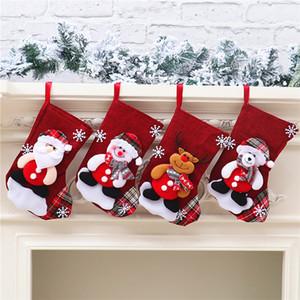 2020 Christmas stocking 22*16*13cm Medium Cute Candy Gift bag snowman santa claus deer bear santa sack christmas ornaments pendants