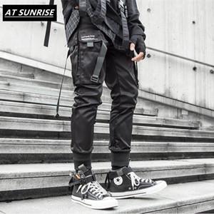 2020 new Ribbons Cargo Pants Men Black Pocket Streetwear Harajuku Techwear Pants Hip Hop Trousers Harem Joggers Sweatpants black