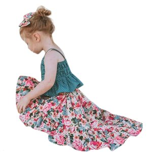Excelent Clearance New summer babys Dress Toddler Baby Girls Sleeveless Dot Straps Shirt Tops Floral Dress Clothes Sets Z0207