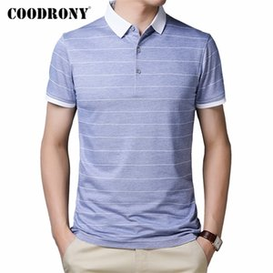 COODRONY Brand Short Sleeve T Shirt Men Spring Summer Fashion Striped Turn-down Collar T-Shirt Men Cotton Tee Shirt Homme C5002S 0921