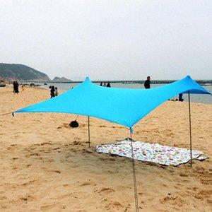 Playa Parasol Familia con la bolsa de arena de hierro polacos plegable portátil de alta estiramiento Yard tienda de campaña al aire libre Pesca Cabaña eOY8 #