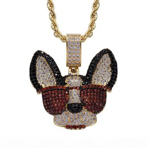 Hip Hop Luxury Designer Jewelry Dog Head Sunglasses Pendant Necklace Micro Paved Zircon Dog Chain