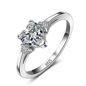X Vecalon promozione all'ingrosso reale 925 Cuore dell'anello di cerimonia nuziale Belle Intarsi Cuore 5A zircone CZ Anelli di fidanzamento per le donne