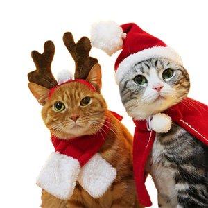 Pet Christmas Set Cat Dog Hat Headgear Scarf Cloak Transformation New Year Cloak Christmas Clothes DHL Free