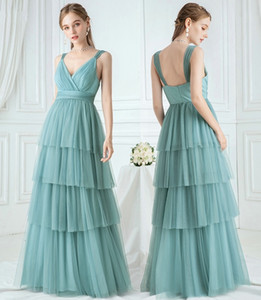 Elegant Turquoise Bridesmaid Dresses Layers A-Line Evening Dress V-Neck Ruched Spaghetti Straps Tulle Wedding Party Gowns