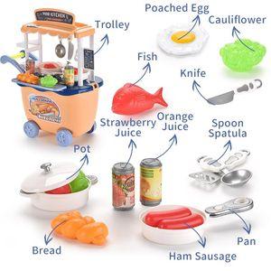 Mutfak arabası takım pişirme seti gıda aksesuarları oyuncak çatal bıçak tablo Çocuk bulmaca benzetmek oyuncak hediye oynamak