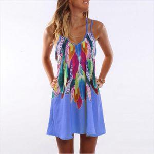 Beach Sexy Dress Women Mini Summer Dress Print Sleeveless V neck Spaghetti Strap Dress Sundress Ws804v drop shipping designer clothes
