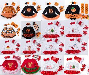 Christmas Baby Girls Rompers Long Sleeve Dress+Headband+Kneepad+Shoes Four-piece Suit Halloween Kids Pots Snow Pumpkin Jumpsuits 0-2Y D82504
