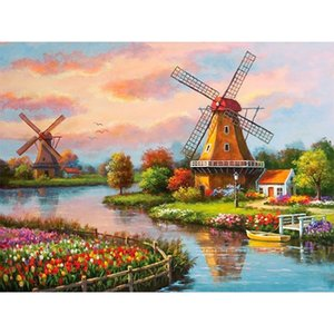 "Full 5D Diy Daimond Painting ""Windmill Landscape"" 3D Diamond Painting Round Rhinestones Diamant Painting Embroidery Scenery"