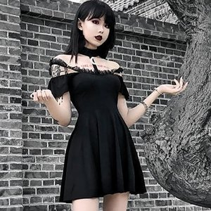 Gothic Black Sexy Women Halter Collar Short sleeve Lace Slim Dress Goth Off Shoulder Spaghetti Straps Party Mini Pleated Dresses