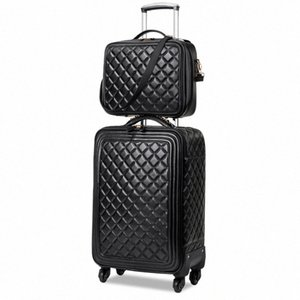 LeTrend Retro en cuir PU roulement Luggage Set Spinner haute capacité Chariot High Grade Valise Roues cabine Sac Voyage jdLY #