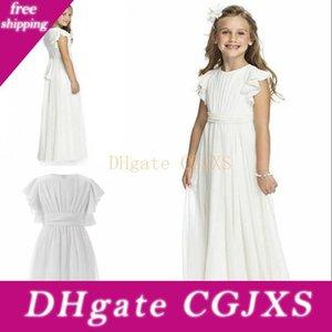 Chiffon Flower Girl Dress Floor Length Sash Bow Short Sleeve Ruffles Pleated Junior Bridesmaids Wedding Christmas Cheap Girls Pageant Gowns