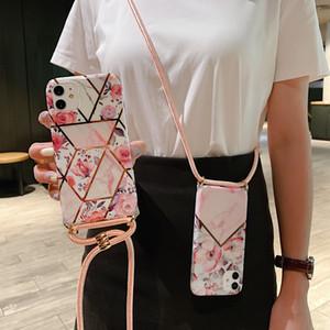 패션 디자인 크로스 바디 충격 방지 대리석 전화 케이스 아이폰 (11) 프로 XS 최대 XR SE 2020 7 8 플러스 매는 밧줄 넥 스트랩