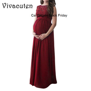 New Lace Pregnant Long Dress Women Casual Hollow Out Evening Party Maternal Pregnancy Dresses Photography Props Fancy Dress M53