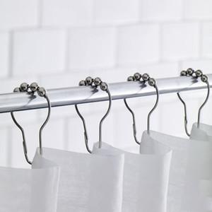 스테인레스 스틸 목욕 롤러 샤워 커튼 후크 글라이드 링 후크 홈 욕실 액세서리 12PCS 실용 커튼 후크 TQQ BH0909