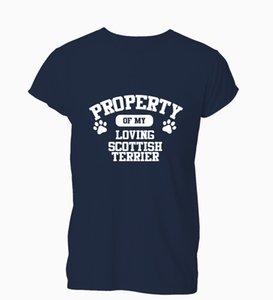 2019 Dog Property Scottish Terrier Amante Presente engraçado do Xmas bonito camisetas T-shirt dos homens Wom