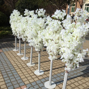 Decoración de la boda 5 pies de altura de 10 piezas / lote SLIK Artificial Cherry Blossom Tree Roman Column Road Lods for Wedding Party Mall abrió los accesorios