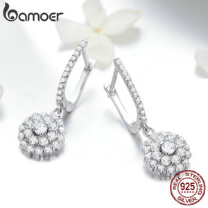 BAMOER Authentic 925 Sterling Silver Shining Cubic Zircon Round Circle Drop Earrings for Women Wedding Engagement Jewelry SCE517 200923