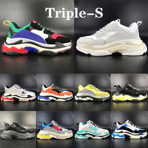 Top Qualität triple s 6-Schicht-Kombination alleinige beiläufige Schuhe Mehrfarben triple schwarz weiß silber rot Plattform Männer Frauen Turnschuhe US 5,5-11