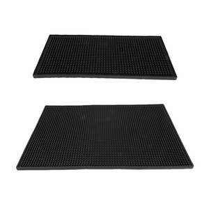 2Pcs Black Rubber Beer Bar Runner Spill Mat For Home Pub Cafe Party
