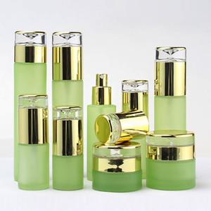 60ml 120ml Verde Cosmetic vidro Lotion Garrafa Embalagem Com Tampão dourado plástico vazio vidro Frascos do pulverizador