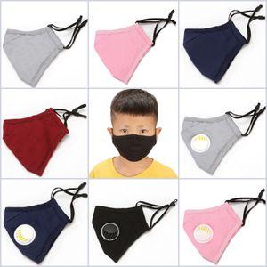50pcs DHL für Kinder Waschbar Gesichtsmaske mit Ventil Baumwolltuch PM2.5 Anti-Haze Anti-Staub-Masken-Non-Woven Gewebe Kinder Mask