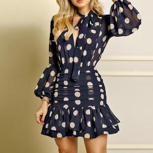 Урожай горошек выдалбливают осень платье Elegant женщин фонарь рукав Bow-Tie Мини-платье Сексуальная Backless плиссированные платья-футляр