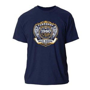 PRINT 1980 37 años de ser TOPS AWESOME febrero TSHIRT FITNESS camiseta para hombre del TAMAÑO S-3XL HOMME ROPA TSHIRT MENS cuello redondo