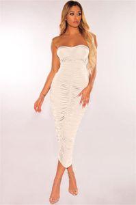 Stacked платья Lady One Piece Женского пакет хип юбка одежда женщины сексуальный сплошного цвет лето платье без рукавов