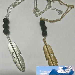 Vintage lave-rock Perle Plume / Feuilles Tassel Sautoir Aromathérapie Huile Essentielle Diffuseur Colliers Femmes Noir Lava Pendentif Bijoux
