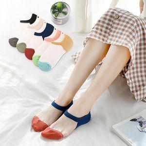 Womens Summer Socks Patchwork Floral Solid Color Breathable Comfortable Womens Underwear Summer Designer Womens Socks