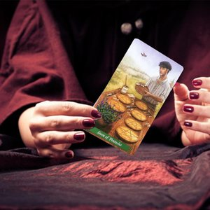 Juegos de cubierta partido de la hospitalidad las cartas del Tarot bruja juego tablero de juego de Tarot 78pcs Juegos regalo Oracle Inglés Familia Green Card ymvTO