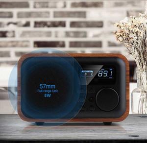 Freeshipping inalámbrica Bluetooth portátil de madera del altavoz de subgraves con radio FM Reloj despertador Caixa de Som control remoto Altavoces Altavoz