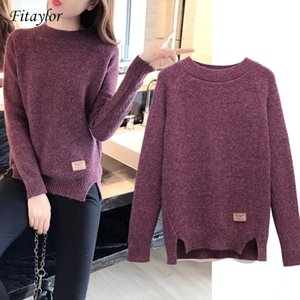 Fitaylor Pull et pull-overs Printemps Automne manches longues Pull Femme solide Pull Femme Casual pull en tricot