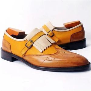 Men's Dress Shoes Ankle Botas Basic Business Casual Shoes Blue Fringe Low Heel PU Leather Male Big Size 48 Fashion Shoes For Men