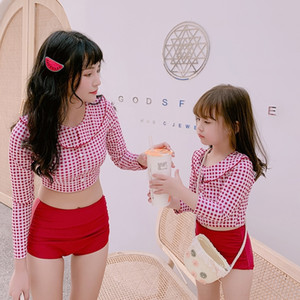 ocieO Eltern-Kind-süße Puppe Mutter-Tochter-Sonnenschutz Bikini lange Hülse aufgeteilter Badeanzug Kragen Mädchen Bikini zweiteiliger Badeanzug