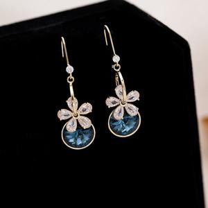 European and American vintage flower earrings 2020 new femininity luxury crystal earrings French net red ear hooks