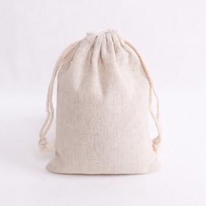50pcs / lot Natural Sacos de algodão 8x10cm casamento pequenos favores de linho com cordão saco do presente Muslin doces jóias embalagens Sacos Bolsas