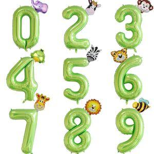2pcs 40inch Number Balloons Green Foil Number Ballon Jungle Safari Party Animal Helium Balloon Kids Birthday Baby Shower Decor