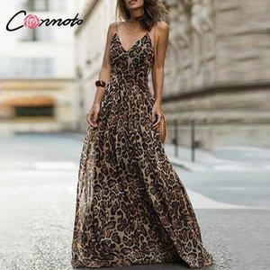 Conmoto Leopard Print Chiffon Maxi Vestido Mulheres Backless Longo Sexy Partido Vestidos Spaghetti Strap Casual Vestido Vestidos